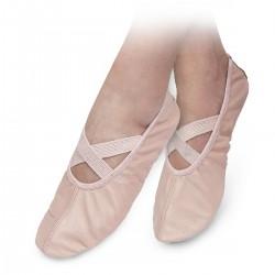 Baletki skórzane różowe z gumką
