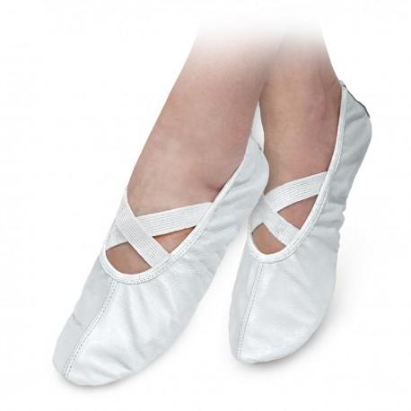 Baletki skórzane białe