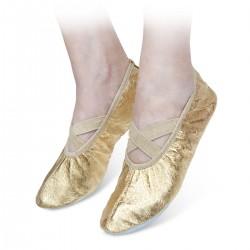 Baletki skórzane złote z gumką