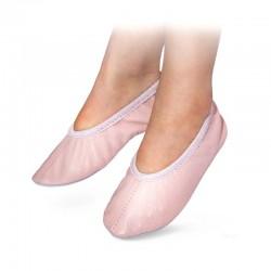 Baletki skórzane różowe