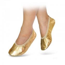 Baletki skórzane złote